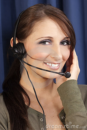 Girl computer headset, phone