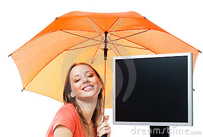 Girl an computer under umbrella