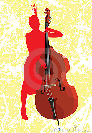 The girl with a contrabass