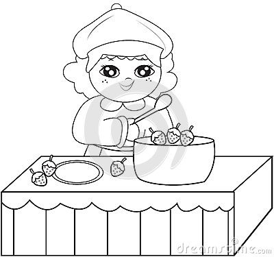 Girl cooking coloring pages