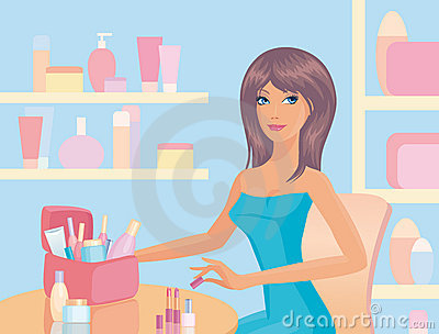Girl with cosmetics