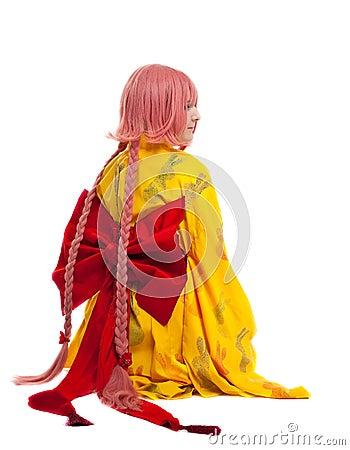 Girl in cosplay character kimono costume