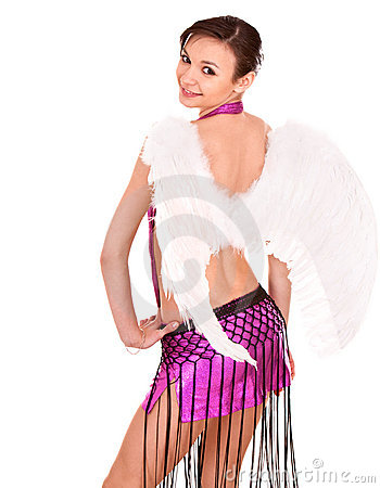 Girl in costume of angel on halloween.