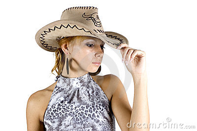 Girl in cowboy s hat