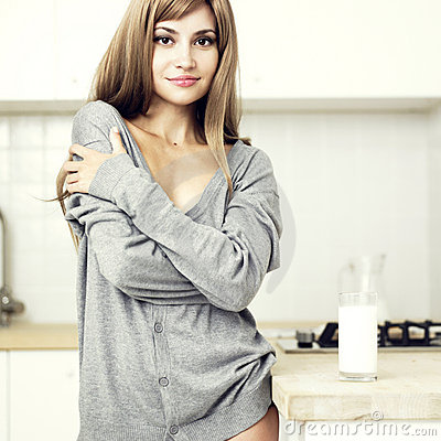 Girl in a cozy kitchen