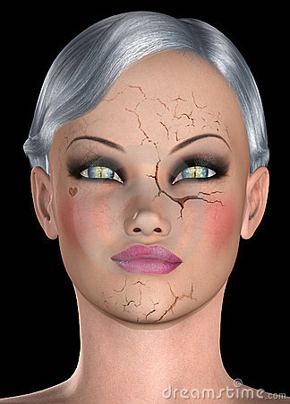 Girl with cracked face