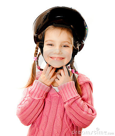 Girl in crash helmet