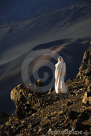 The girl at craters of Haleakala.