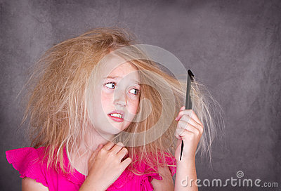 Girl with crazy tangled hair