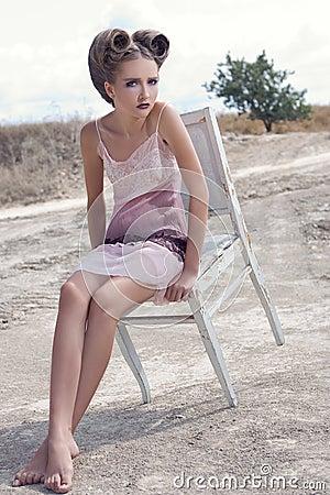 The girl in a cream dress