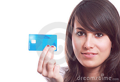 Girl with credit card in hand