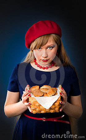 Girl and croissant