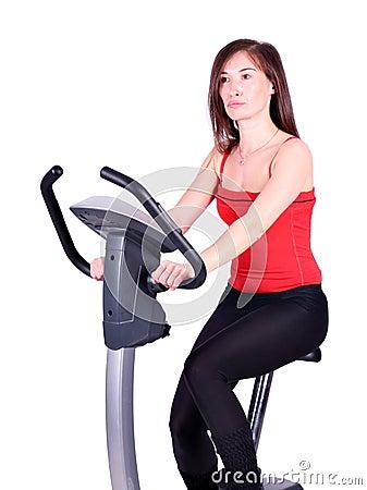 Girl cross trainer exercise