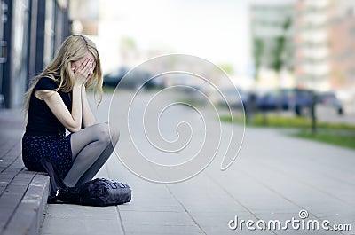 Girl Crying of Sadness