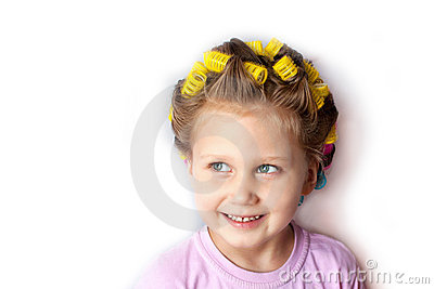 A girl with curlers