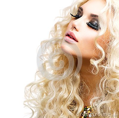 girl with curly blond hair stock photography image
