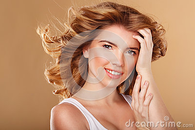 girl with curly hair beauty portrait stock photo image