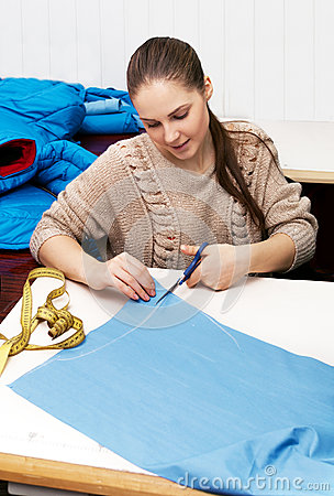 Girl cut blue cloth