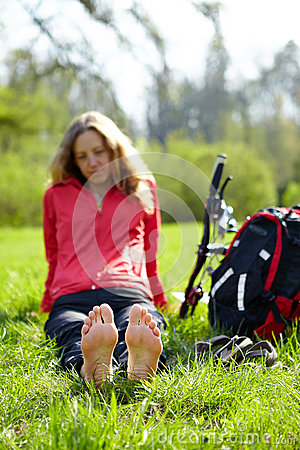 Free Girl Cyclist Barefoot Enjoying Relaxation Stock Image - 30778561