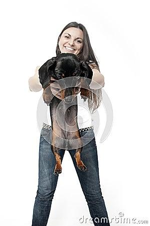 Girl with dachshund