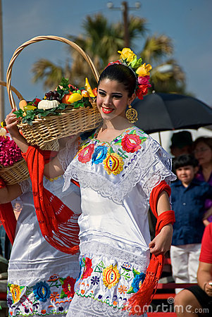 Girl dance in Mexican costume and fruit basket Editorial Photography