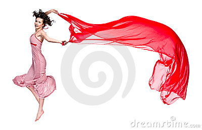 Girl dance with red scarf