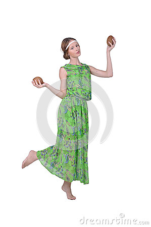 Girl dancing with coconuts in her hands