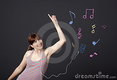 Girl dancing with musical notes