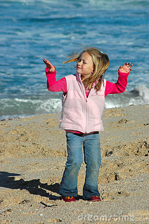 Free Girl Dancing On Beach Royalty Free Stock Images - 10673639