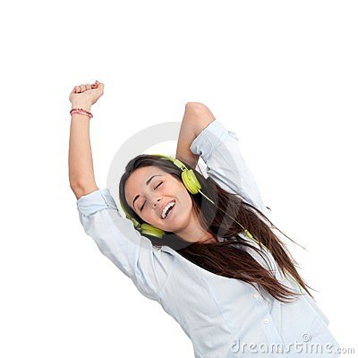Girl dancing to the beat with headphones.