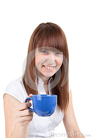 The girl with a dark blue cup