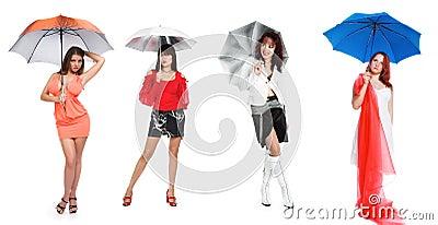 The girl and a dark blue umbrella