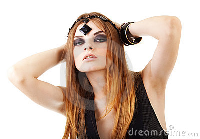 Girl in a dark makeup with bead