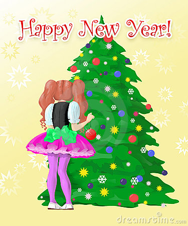 Girl decorate New Year s tree
