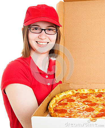 Girl Delivering Pizza