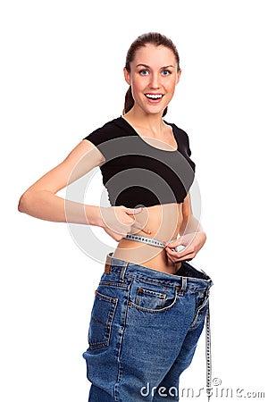 Girl demonstrating weight loss