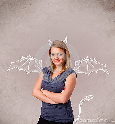 Girl with devil horns and wings drawing Stock Photo