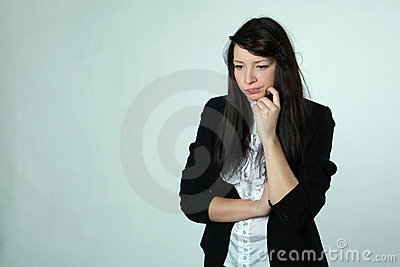 The girl with a dissatisfied mimicry