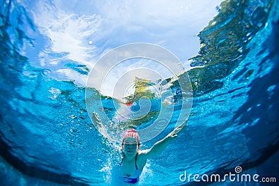 Girl Dives Pool Underwater