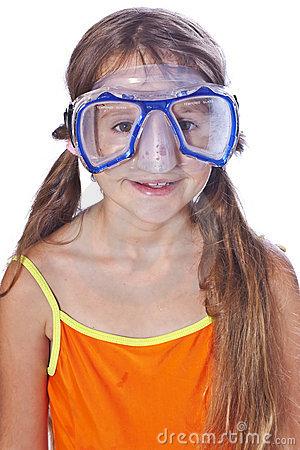 Girl with diving equipment