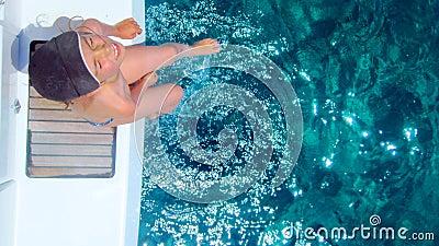 Girl on diving platform