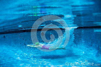 Girl Diving Pool Underwater