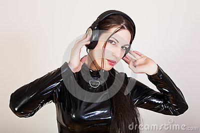 Girl DJ with headphones on her head
