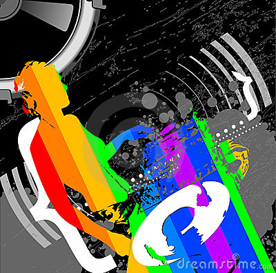 Girl DJ And Rainbow Music