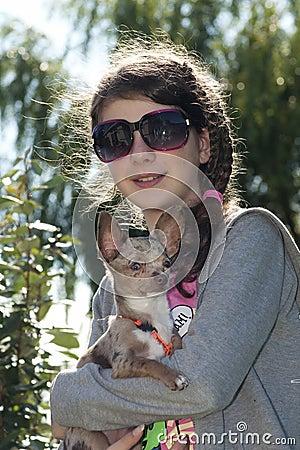 Girl with dog back light