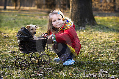 Girl with dog and pram