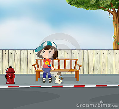 A girl and a dog sitting along the road