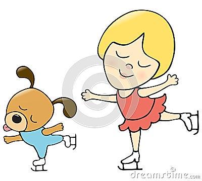 Girl and dog skating