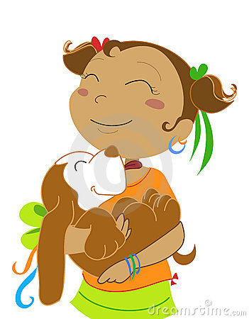 Girl with dog-vectorial illustration