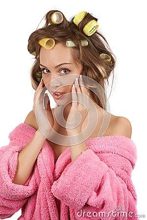 Girl doing facial massage